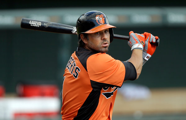 Roberts is the oldest Oriole on the 2013 roster. (Photo Courtesy of Charlie Neibergall/Associated Press)