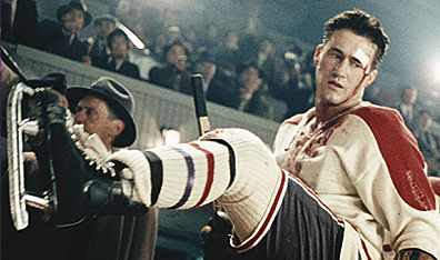 Roy Dupuis hits the ice as Maurice Richard in The Rocket. (Image Courtesy Alliance Atlantis. Courtesy Alliance Atlantis).
